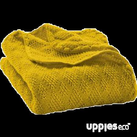 Uppies baby - deken Disana wol gebreid geel