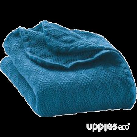 Uppies baby - deken Disana wol gebreid blauw
