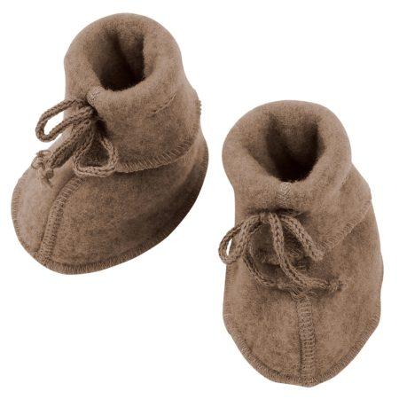 Uppies Baby - slofjes Engel wol fleece Walnoot