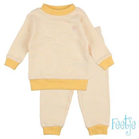 Uppies baby - pyjama wafel Feetje  Okergeel