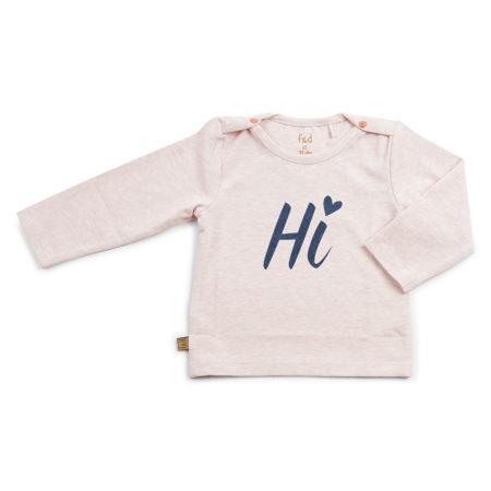Frogs & Dogs New Born Basic Shirt ''Hi'' Pink Melange